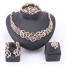 Women Fashion Luxury Rhinestone Bridal Necklace Earring Bangle Ring African Dubai Costume Gold Color Jewelry Sets