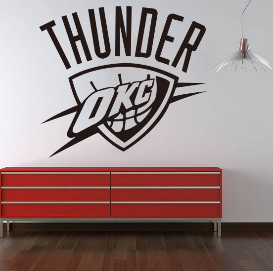 Home Decoration Oklahoma City Thunder NBA American Professional Basketball  Team Logo Wall Stickers Living Room Bedroom In Wall Stickers From Home U0026  Garden ...