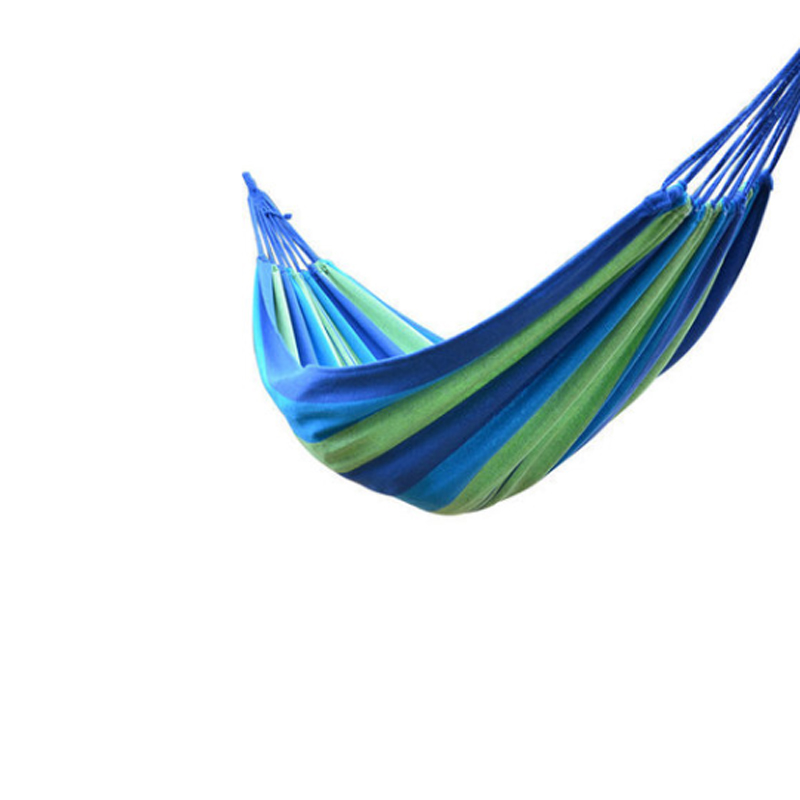 Hiking Swing Canvas Striped Hammock Portable Hammock Outdoor Garden Hammock Hanging Bed Family Travel Camping Blue цена