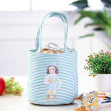 PACGOTH Korean Cartoon Girl Leisure Bags Tote Lunch Bag Cotton Fabric Portable Women Cooker's Thermal Convenient Lunch Box 1 PC(China)