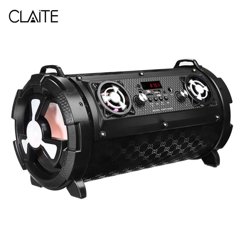 CLAITE 15W Home Subwoofer Bluetooth Speaker Portable Wireless Outdoor Speaker 2000mah FM Radio Handfree with Microphone portable professional 2 4g wireless voice amplifier megaphone booster amplifier speaker wireless microphone fm radio mp3 playing