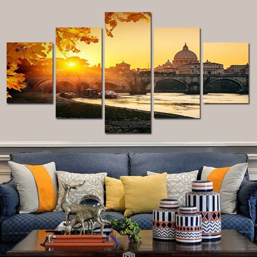 New Landscape of River Bank Canvas Painting Home Decor canvas Picture Print On Wall For  ...