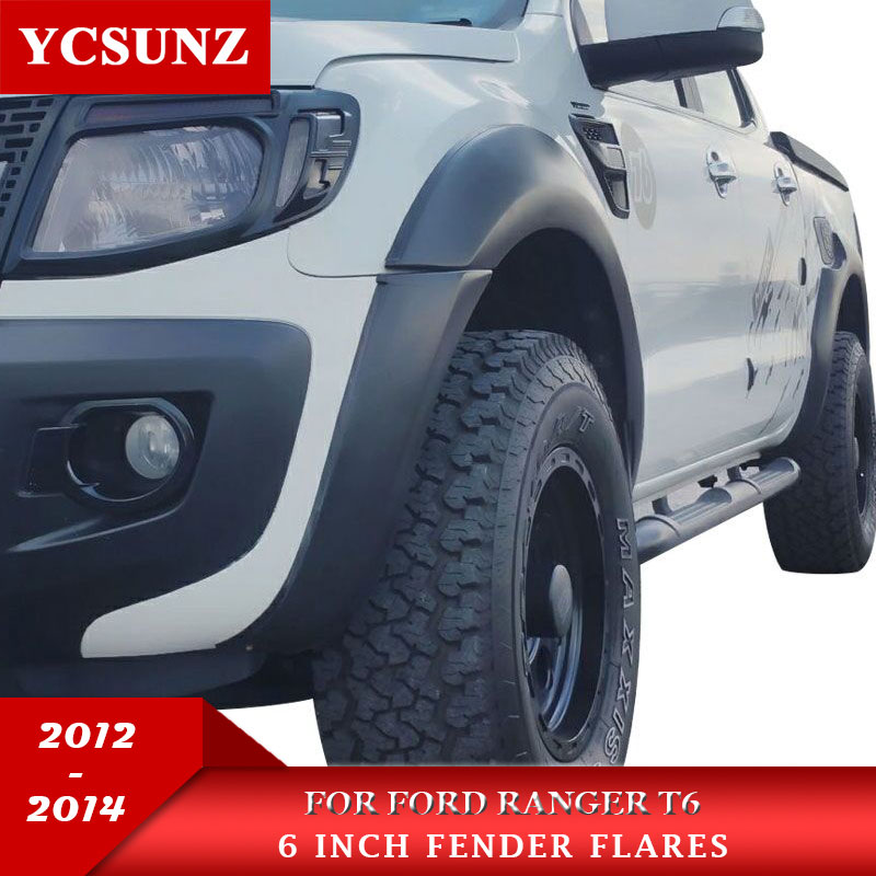 6 Inch Expansion Arches Fender Flares Accessories Black Color Mudguards For Ford Ranger 2012 2013 2014 Double Cabin