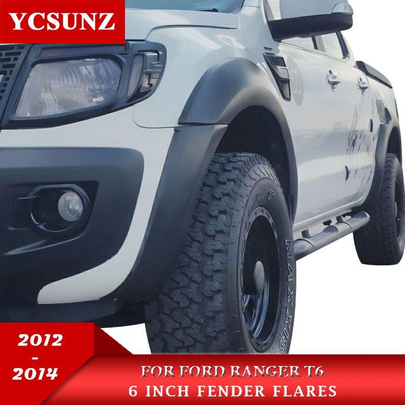 6 Polegada arcos de expansão fender flares acessórios cor preta mudguards para ford ranger 2012 2013 2014 cabine dupla