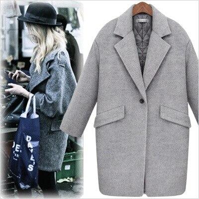Reino Unido 2019 las mujeres de invierno de Turndown Collar botón Simple larga de lana abrigo mujer ropa gris Casacos Manteau femme
