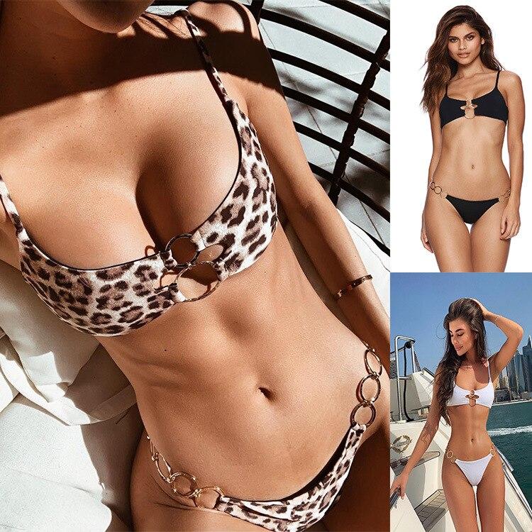 Bikini Set 2019 Hot Selling Simple Ring Accessories Women Swimwear Bikini New Style Push Up Padded Swimming Suit Bathing Suit