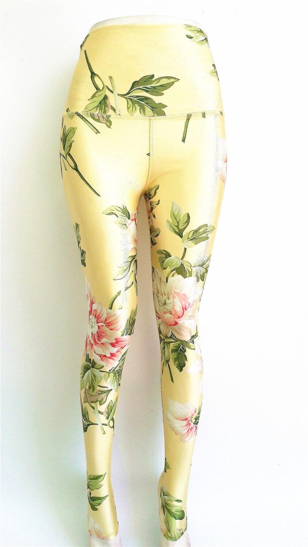 Plus Size Yoga Pants Lotus Flower Elephant Stripe Design Running