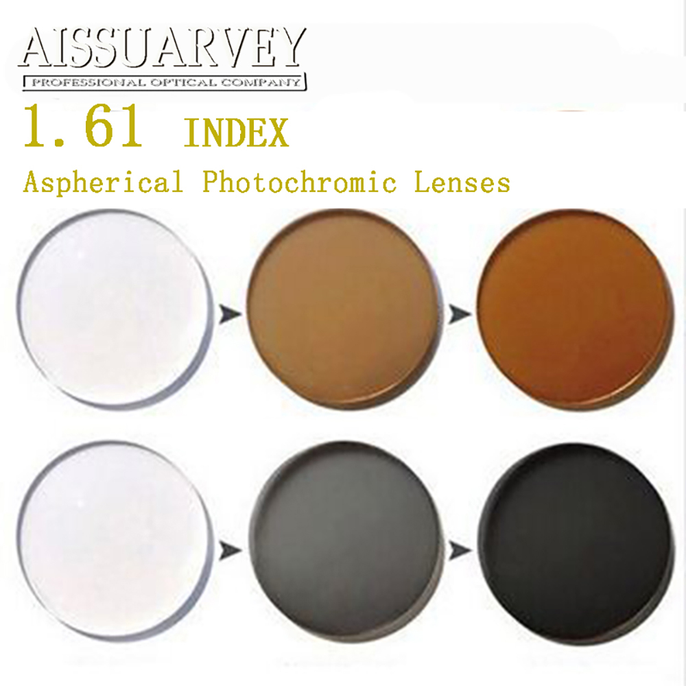 1.61 Index Aspherical Photochromic Lenses Cr-39 Anti-glare Clear Change Gray Brown Grade A Top Quality Thin Colored Optical Lens