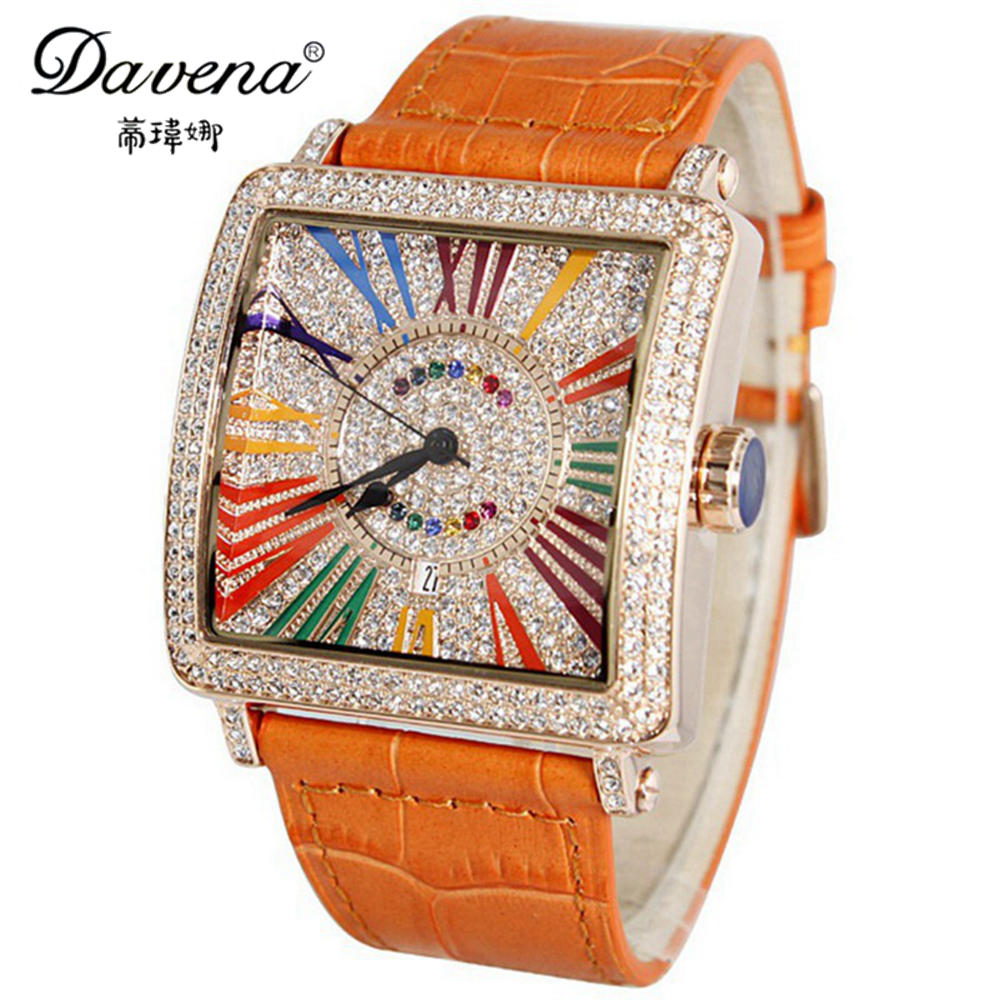 Female Genuine Leather Wristwatch Women Dress Rhinestone Watches Fashion Casual Quartz Watch Luxury Brand Davena 30115 Best Gift binger genuine gold automatic mechanical watches female form women dress fashion casual brand luxury wristwatch original box
