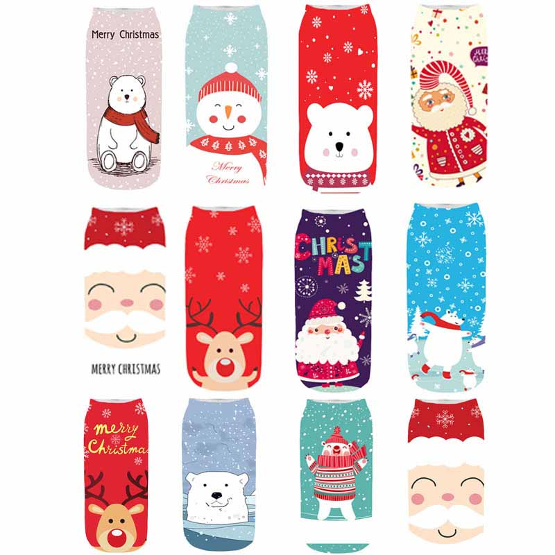 2019 Winter Cotton Straight Christmas   Sock   Men Women 3D Printing Cartoon Reindeer Santa Claus Snowflake Short   Socks   Hosiery