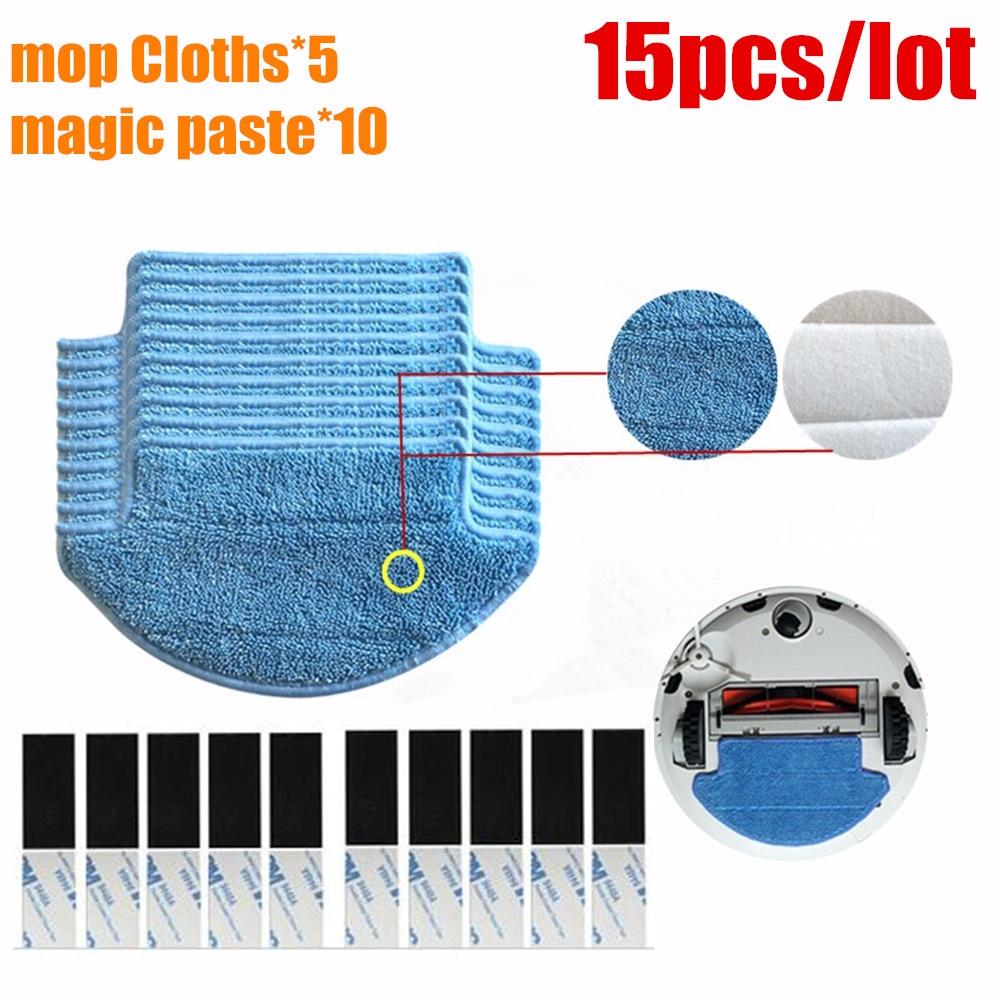 все цены на 15pcs/lot Original thickness Xiaomi Mi Robot Vacuum Cleaner mop Cloths Parts kit ( mop Cloths*5+magic paste*10) aspirador онлайн