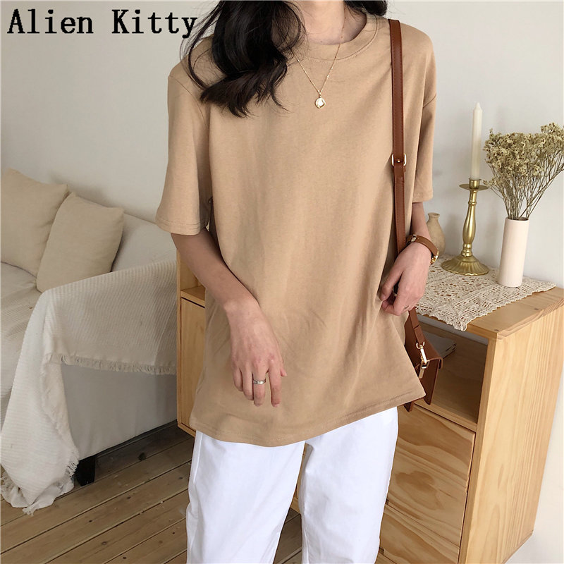 Alien Kitty 2019 New Soft Free Loose Hot Sale Solid Fresh Summer New T-shirt Women Fashion Natural Short Basic Shirt 4 Colors