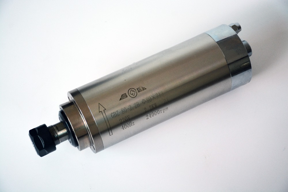 10 Uds. 2.2kw agua fría husillo motor ER20 grabado de refrigeración por agua husillo de fresado AC220v 380v 80x213mm GDZ 80 2.2B de trabajo de madera
