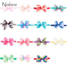 NISHINE Butterfly Headband Baby Elastic Ribbon Bow Hairband Rainbow Colorful Flower Handmade Children Floral Solid