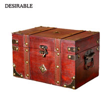 DESIRABLE Vintage wooden storage box size two kinds of jewelry and other small items creative storage box(China)