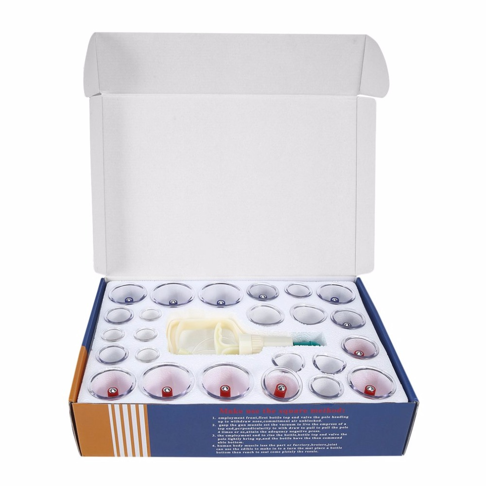 Chinese Health Care Medical Vacuum Body Cupping Set 24Pcs Massage Cans Cup Biomagnetic Massage Therapy Body Relaxation Kit kifit 2x chinese baoding balls fitness handball health exercise stress relaxation therapy chrome hand massage ball 38mm