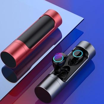 VirWir TWS Fones de Ouvido Bluetooth 5.0 Fone De Ouvido Controle de Toque Sem Fio com Banco De Potência À Prova D' Água Música Estéreo Bluetooth Headset