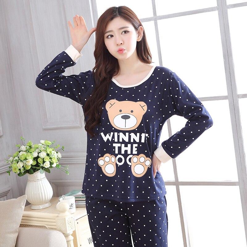 2019 spring new Women   Pajamas     Set   thin cotton cartoon print Sleepwear Suit lovely Pyjamas casual homewear 90s girls pijama mujer