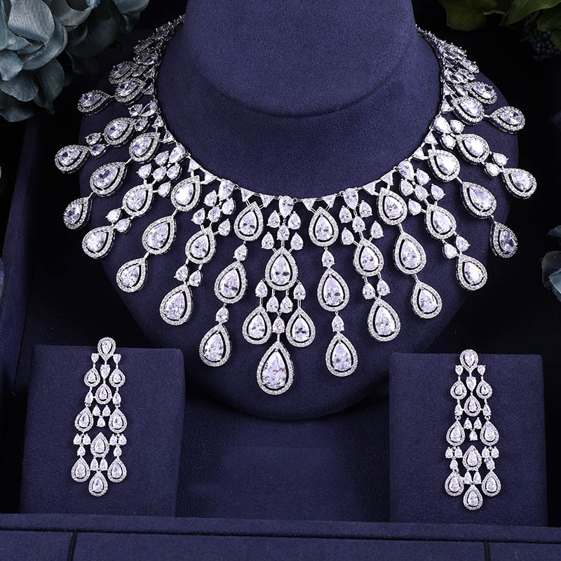 janeklly trendy Wedding Necklace Earrings For Women Accessories Full Cubic Zirconia Bridal Jewelry Sets pendientes mujer moda