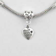 10Pcs/Lot Antique Silver Plated Heart Charm Pendant Fit Chain Charm Bracelets & Bangles Women Diy Jewelry Accessory holesale
