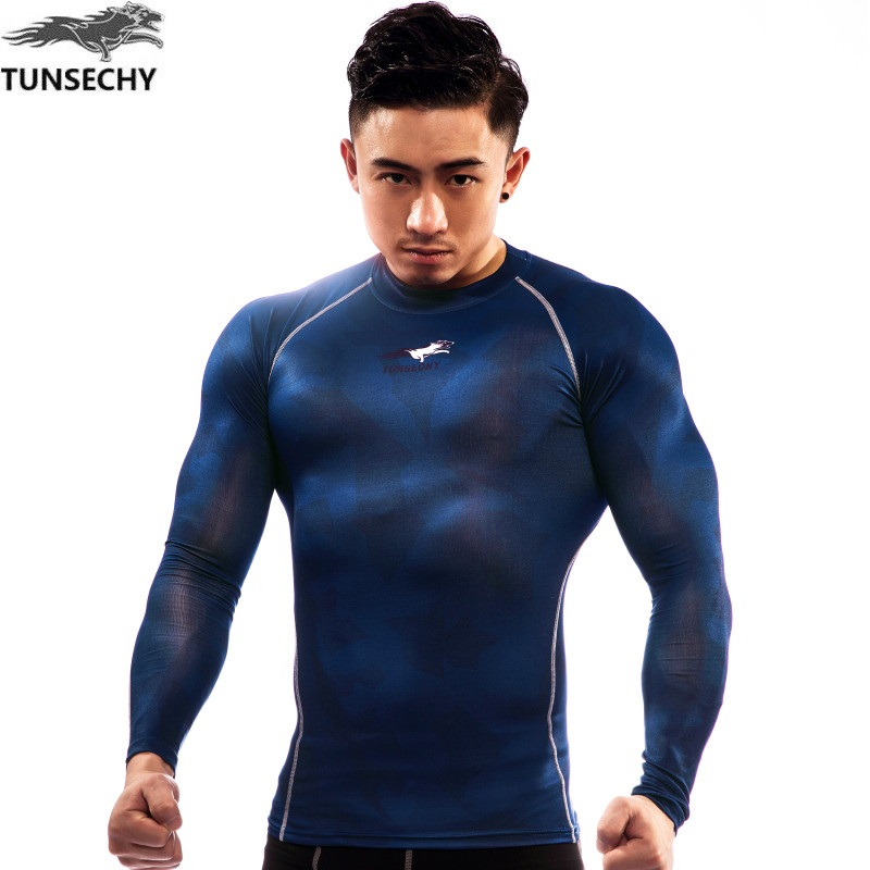 Fashion Brand men Round collar long-sleeved T-shirt Digital printing TUNSECHY compression tight T-shirt Wholesale and retail
