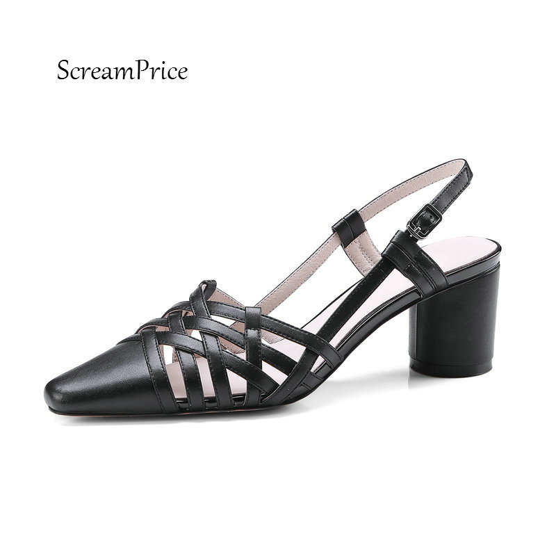 цена на Women Genuine Leather Sexy Pointed Toe Buckle Strap Sandals Comfortable Square Heel Party Derss Summer Shoes Black Pink