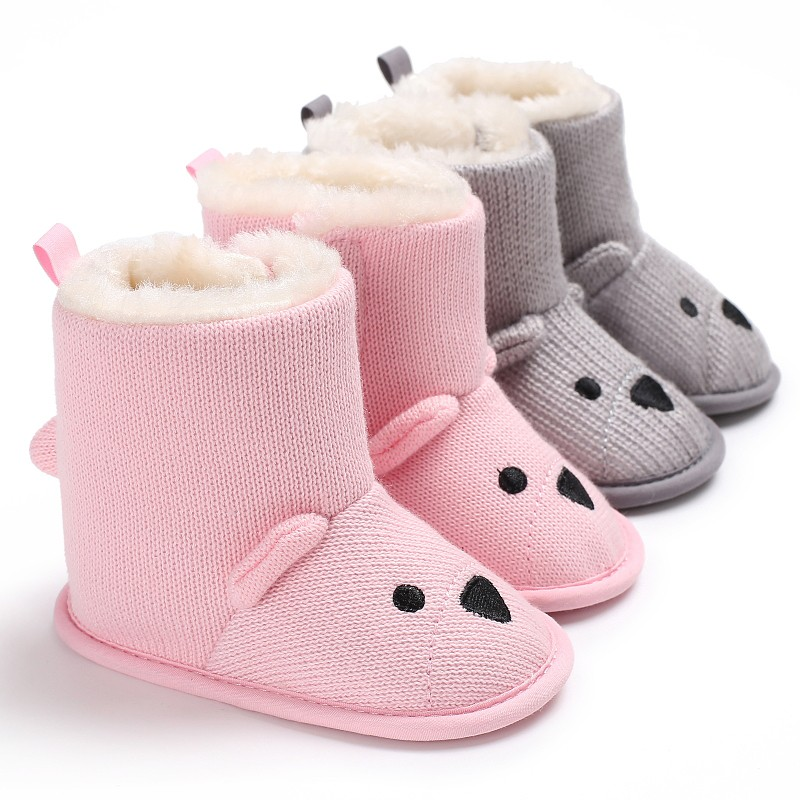 Babys Cute Cartoon Bear First Walkers Baby Kids Winter Boots Knitted Keep Warm Wool Booties Infant Toddler Newborn Shoes