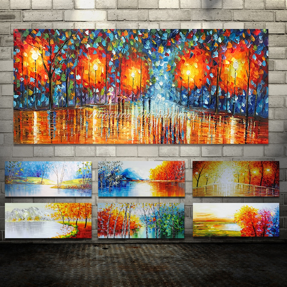 Giant Trendy Handmade The Wet Days Avenue Palette Knife Oil Portray On Canvas For Dwelling Room House Decor Wall Artwork Image