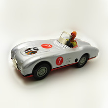 Adult Collection Retro Wind up toy Metal Tin The Gray Racing car Mechanical toy Clockwork toy figures model kids christmas gift