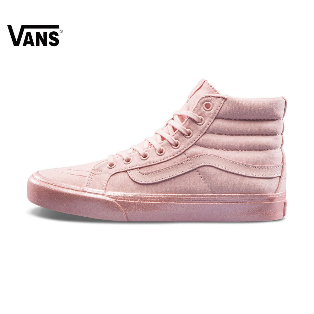 91ad45144a5 Pink Vans Sneakers High top Trainers Women Sports Skateboarding Shoes  Breathable Flat Lace up Classic Canvas Vans Women Shoes-in Skateboarding  from Sports ...