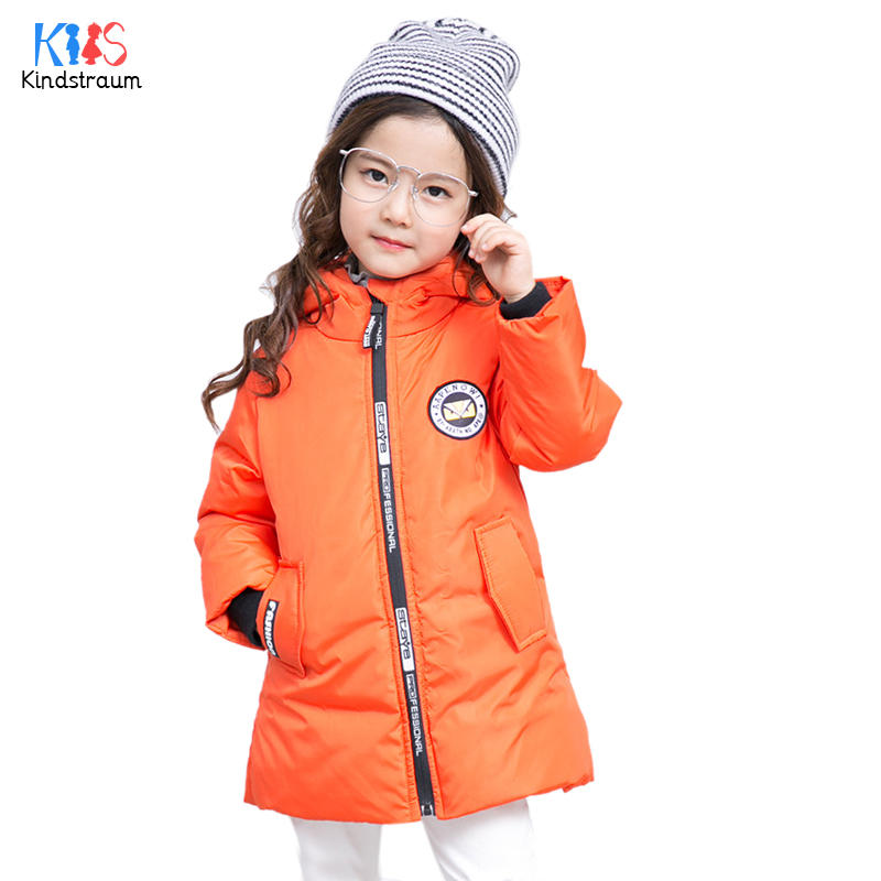 Kindstraum 2017 New Winter Kids Thick Down Coats Brand Children Fur Hooded Wear Fashion Zip Clothes for Girls,RC1575 brand fashion new 2016 winter children down