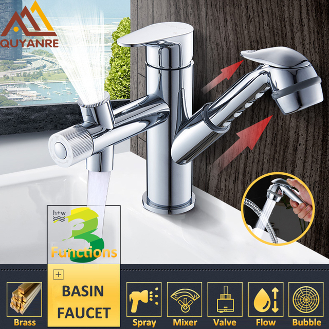 Quyanre Pull out Sprayer Basin Sink Faucet Chrome Kitchen Faucet ...