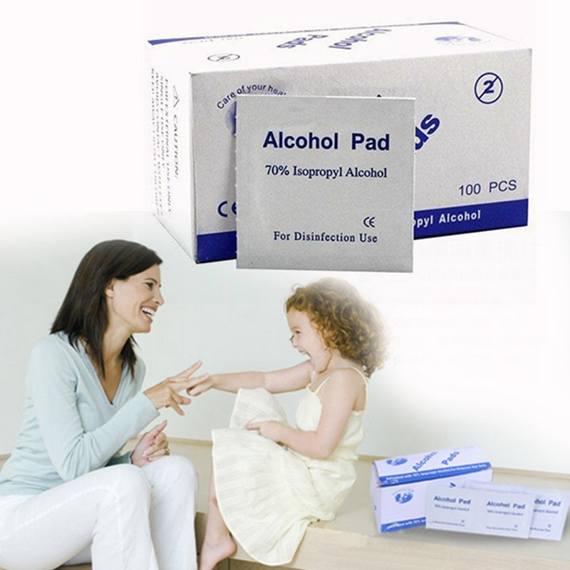 100pcs/Box Alcohol Pads  Swabs Preps Cleaning Sterilization 70% Isopropyl Antiseptic Cleaning Care For Cosmetics