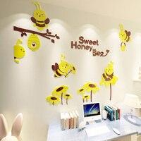 Sweet Bee Design Wall Stickers 3D Cartoon Acrylic Wall Sticker for Baby Room Nursery School Decoration
