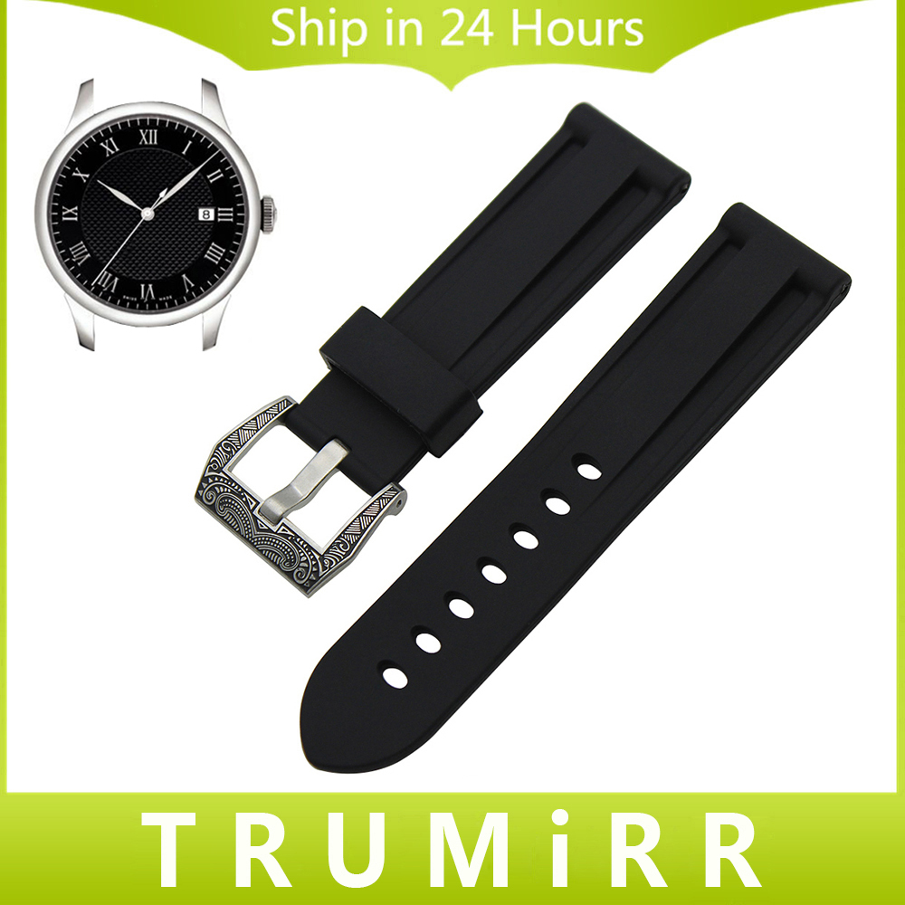 Silicone Rubber Watchband 24mm for Tissot Longines Watch Band Brush 316L Stainless Steel Buckle Strap Wrist Belt Bracelet Black 23mm 24mm silicone rubber watch band for tissot 1853 t035 t087 men stainless steel carved pattern buckle strap wrist bracelet