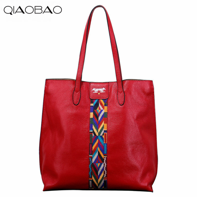 QIAOBAO 2018 Europe and the United States fashion leather Tote bag ribbon high-capacity handbags 2017 new leather handbags tide europe and the united states fashion bags large capacity leather tote bag handbag shoulder bag