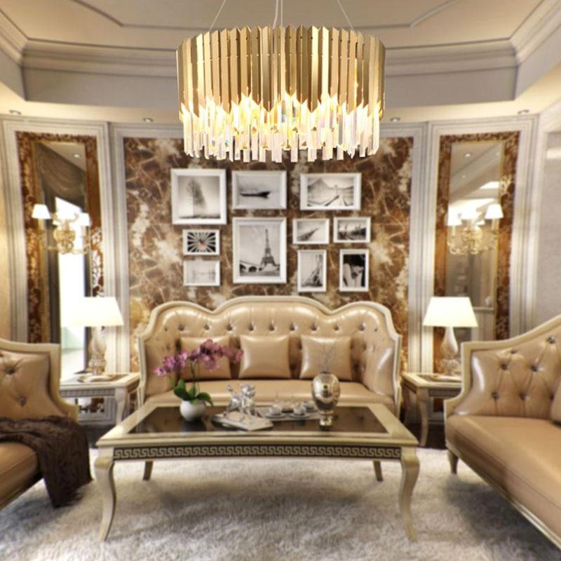 Modern Crystal Pendant Lights Living Room Luxury Foyer Hanging Gold ...