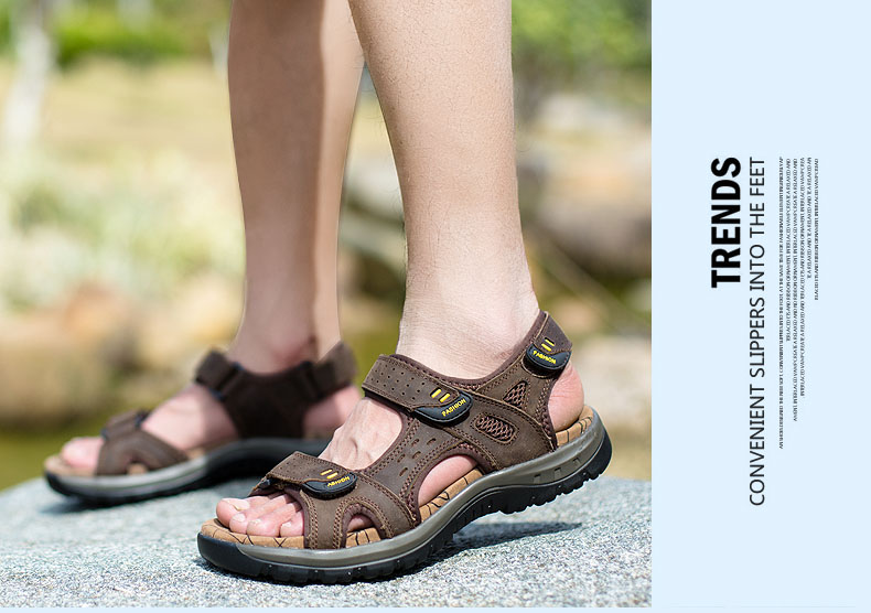 Hot Sale New Fashion Summer Leisure Beach Men Shoes High Quality Leather Sandals The Big Yards Men\`s Sandals Size 38-45 (23)