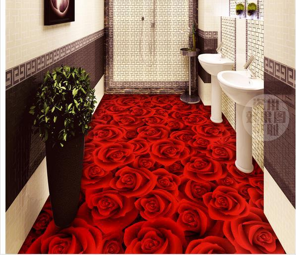 Wall sticker romantic rose 3d floor bathroom wallpaper for 3d wallpaper for bathroom