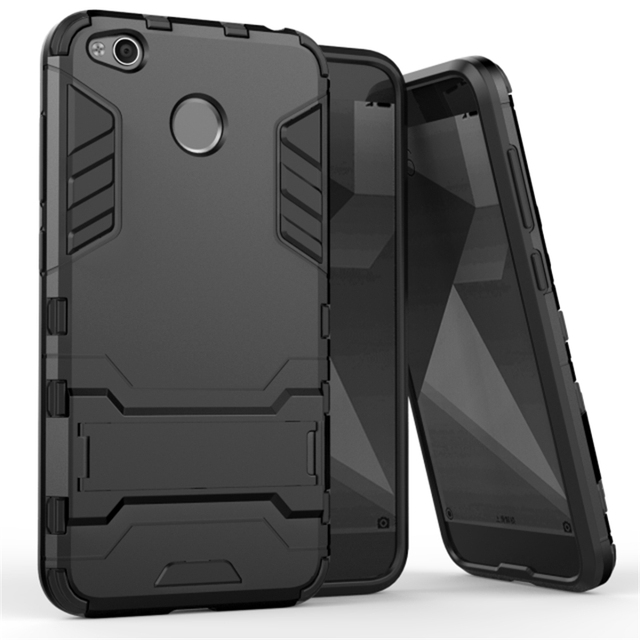 promo code 30a4d 435c0 US $3.0 13% OFF|Armor Shockproof Full Black Case Cover For Xiaomi Mi Max 2  6 5X 5S Case Redmi 4X Note 4X Plastic + Silicone Hybrid Kickstand -in ...