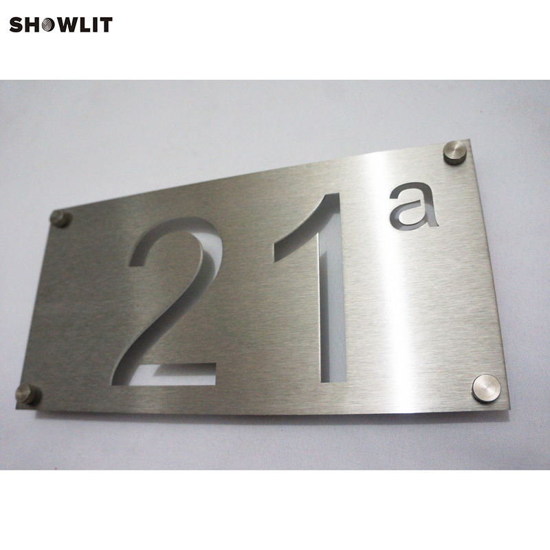 Modern Style Euro Metal Install Address Signs modern brushed aluminum install address signs