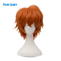 Your Style Short Orange Curly Cosplay Wigs Synthetic Artificail Mens Natural Hair Wigs Male High Temperature Fiber
