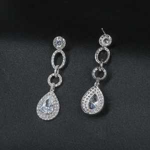 Image 4 - Full CZ Cubic Zirconia Drop Dangle Bridal Wedding Loops Earring for Women Jewelry CE10249