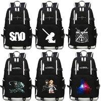 Anime Sword Art Online SAO Backpack Cartoon School Travel Bag For Teenagers Nylon Mochila Escolar Rucksack