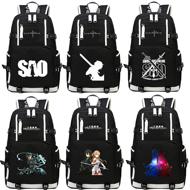 anime Sword Art Online SAO Backpack Cartoon School Travel Bag for Teenagers Nylon Mochila Escolar Rucksack Shoulders bag Package dropship harajuku anime sword art online sao canvas galaxy luminous printing backpack school bags for teenagers mochila feminina