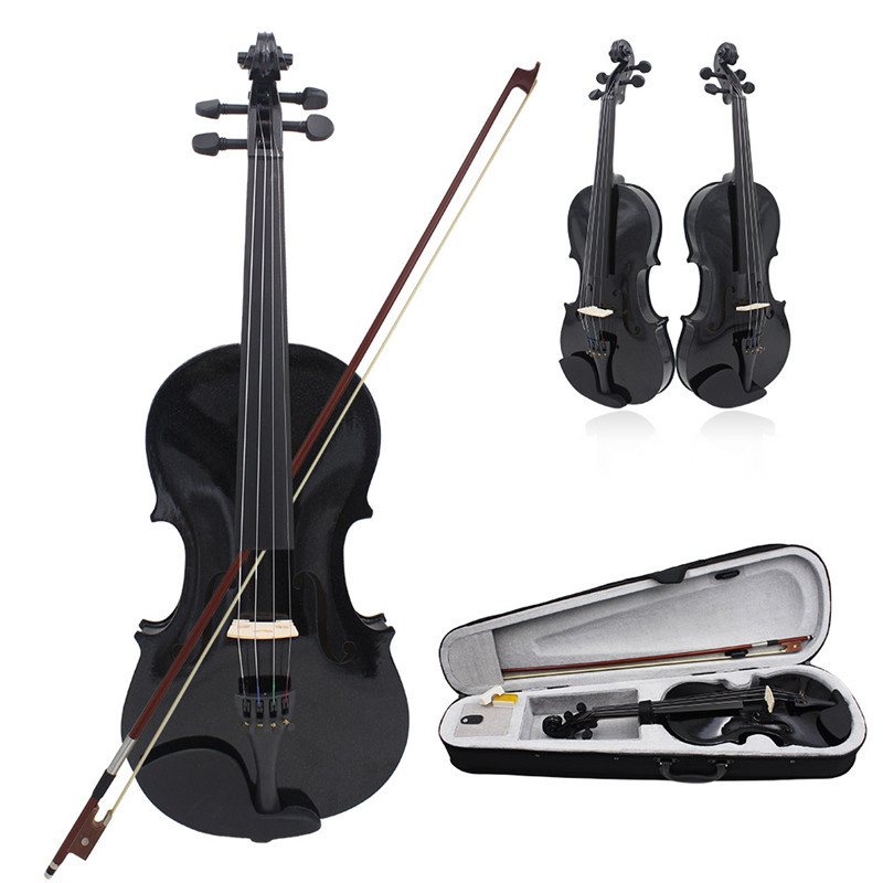 IRIN 4/4 Full Size Acoustic Violin Solid Wood Fiddle Black With Case Bow Rosin Stringed Instrument For Kids Students Beginner beginner s wood case 4 string violin w horse hair bow and rosin red black