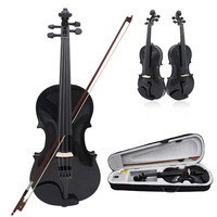 IRIN 4/4 Full Size Acoustic Violin Solid Wood Fiddle Black With Case Bow Rosin Stringed Instrument For Kids Students Beginner