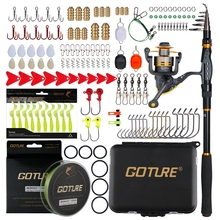 Goture Fishing Rod Combo Sword Telescopic Fishing Rods/Spinning Reel/Braided Line/Soft Lure/Fishing Accessories with Lure Box
