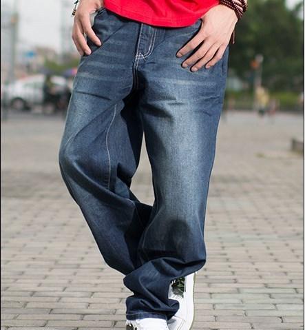 Hip Hop Loose Baggy Jeans Para Hombres Grandes pantalones Slim Fit Straight Boys Jóvenes Patineta Hiphop Jeans Hombres Negro Azul