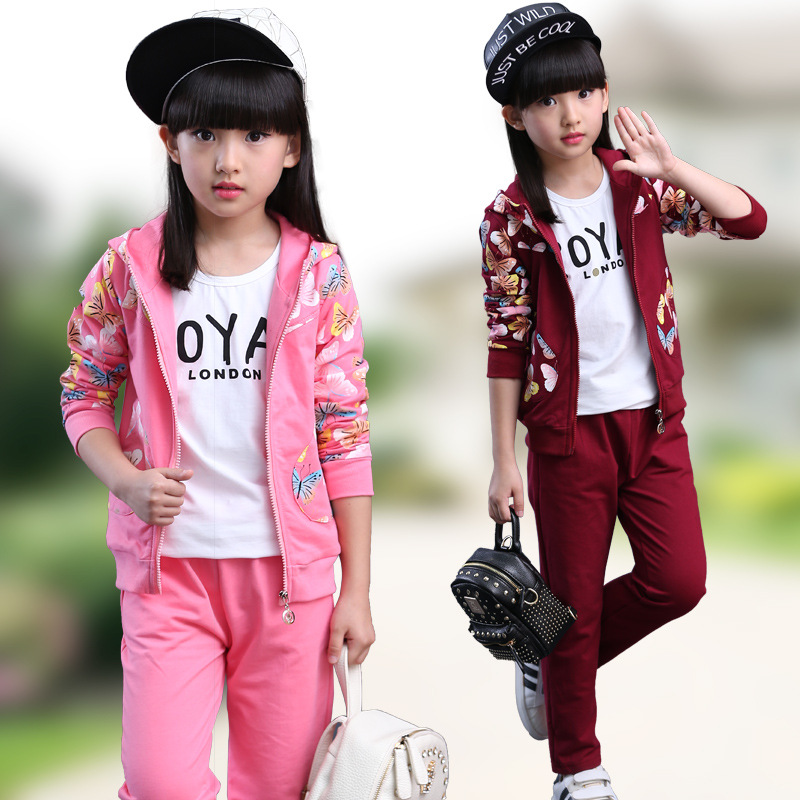 2016 Autumn 100% Cotton Girls Clothes Sets Fashion Long Sleeve Butterfly Clothing Set For Girls Children  Kids Two Pieces Sets new autumn sweet girls sets two piece cardigan outwear cape jacket long sleeve dress cotton lace kids girls clothes sets